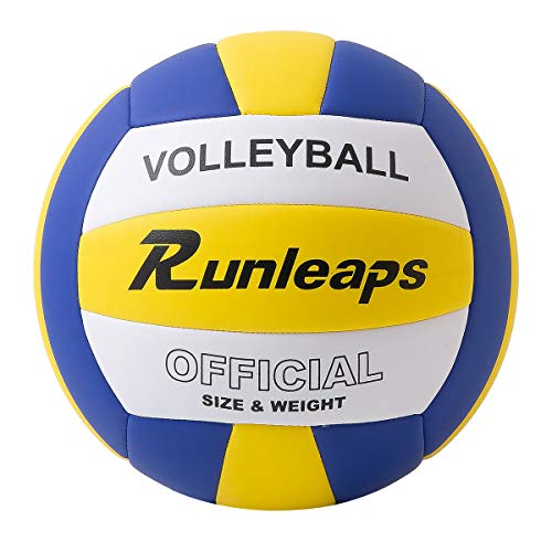 Runleaps Pelota de voleibol de playa, suave al tacto, para entrenamiento de voleibol, para jugar en la playa al aire libre, tamaño 5