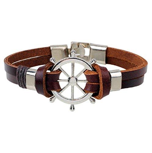 Blowin Unisex para hombre piel marrón Wrap náutica timón pulsera de la pulsera