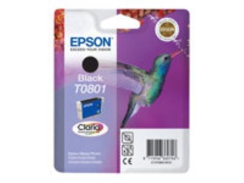 Epson T0801, Druckerpatrone (Schwarz, Blisterpackung mit akustischem RF-Alarm, für Stylus Photo P50, PX650, PX660, PX700, PX710, PX720, PX730, PX800, PX810, PX820, PX830)