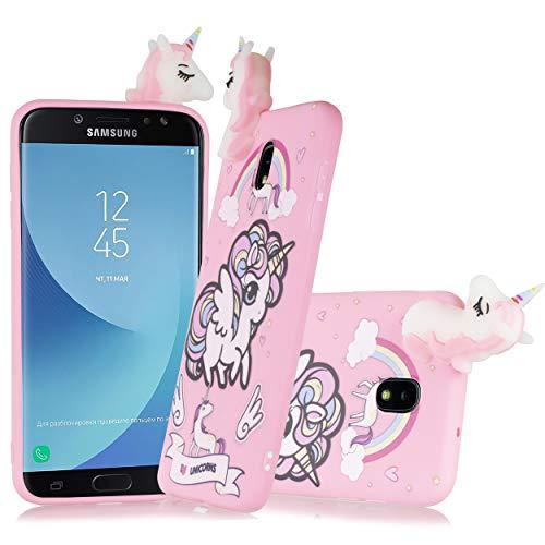 for Samsung Galaxy J7 2018 Refine/Star/Crown/Aura/Aero/Top [SMJ737] Cute Unicorn 3D Case Soft Silicone Jelly Slim TPU Protective Bumper Cover + Screen Protector & Emoji!~ (Pink Unicorn)