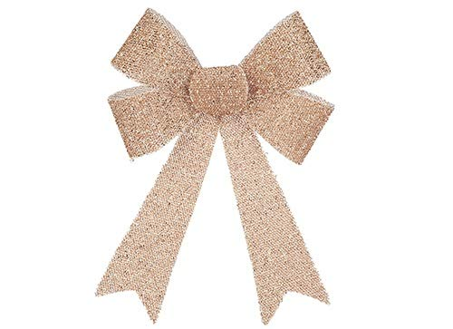 Toyland® 30cm Rose Gold Tinsel Effect Christmas Bow Luxury Hanging Indoor Decorations