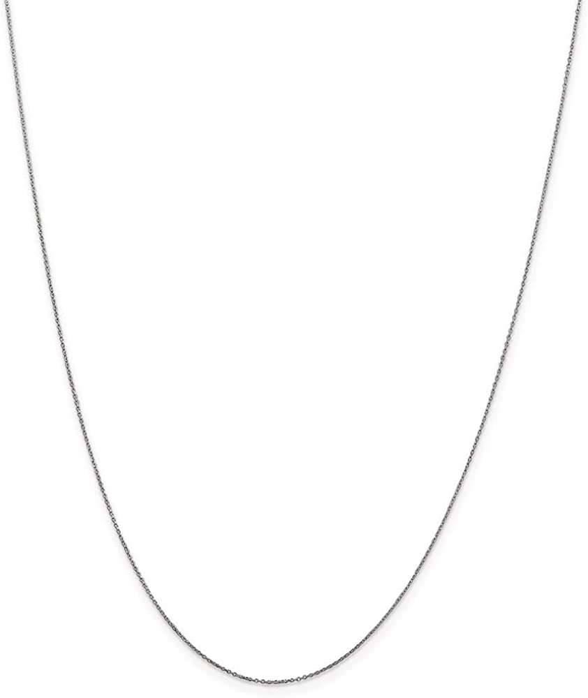 10k White Gold .6mm Link Cable Chain Necklace 16 Inch Pendant Charm D-c Round Fine Jewelry For Women Gifts For Her