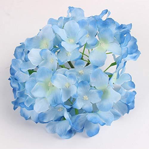 MEITAO Kunstbloemenkoppen van zijde, hortensia, groot 15 cm, voor tafelaccessoires voor thuis, bruiloft, wandbloemen op de bloem Blauw