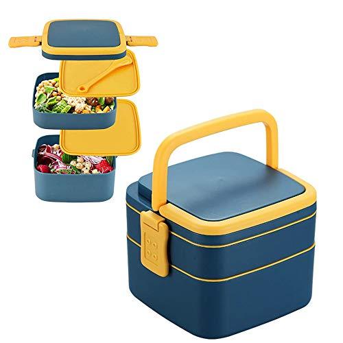 MEISHANG Lunchbox mit Besteck,Luftdichte Bento Box,Bento Box Erwachsene,Brotdose Mit Fächern,Bento Box,Jausenbox für Kindergarten,Brotdose Kinder,Robust und Auslaufsicher