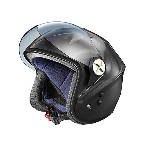 QOUP Casco Inteligente, Bluetooth del Casco de la Motocicleta Solar con Ventilador, de Poco Ruido/Incorporado en la Estructura de Llamada/ABS Bluetooth/Soporte, para Uso en Verano,Negro
