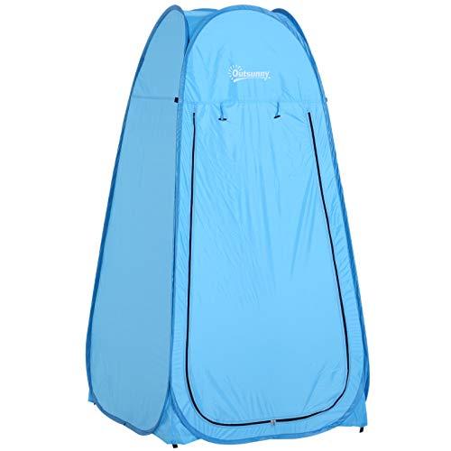 Outsunny Tienda de Campaña Instantánea Tipo Carpa Ducha Cambiador WC Impermeable para Camping 100x100x185 cm Azul