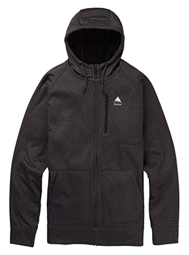 Burton Mens Crown Bonded Full Zip, True Black Heather, Large