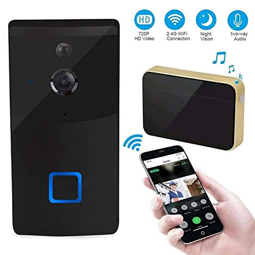 Video deurbel System, 166deg; Visual HD Night Vision 720P IR Wifi Video Intercom draadloze afstandsbediening deurbel Alarm for iOS en Android Smart Phone, Gold HAOSHUAI (Color : Black)