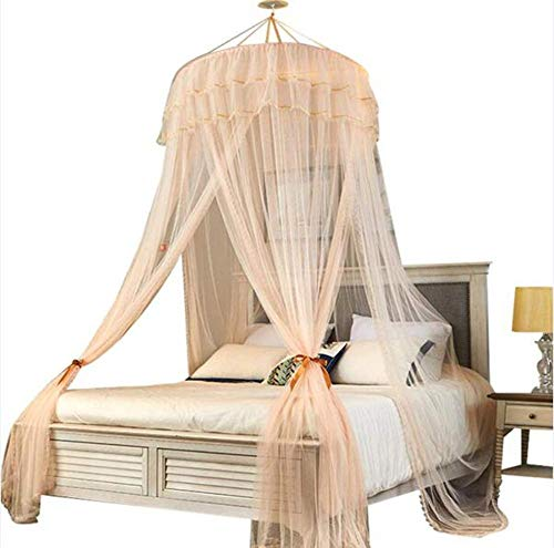 NYANGLI Mosquito Net Bed Canopy Romantic Princess Round Dome Home Holidays Fly Insect Protection Indoor Outdoor Decorative Four Seasons Summer-Yellow