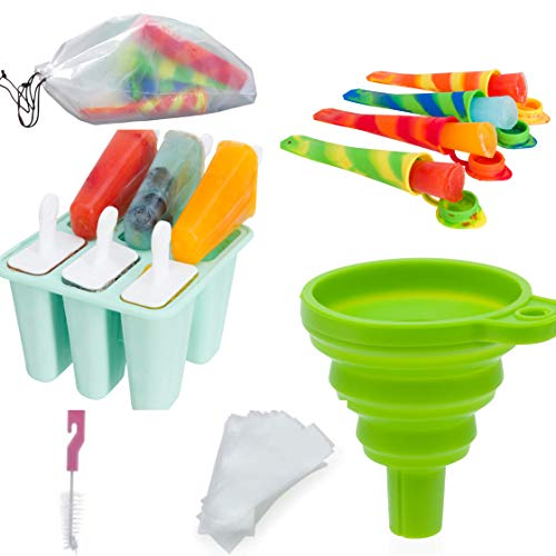 6 Piece Ice Pop Maker BPA Free Popsicle Mold Easy Release Multicolored Ice Pop Molds Funnel and Cleaning Brush