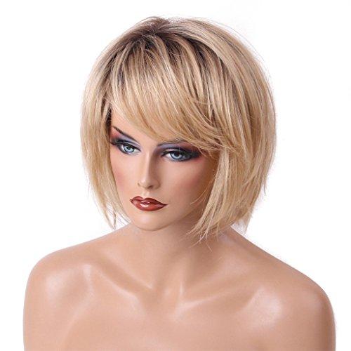 MagiDeal Damen Natürlich Kurze Bob Perücke Echthaar Damenperücke aus menschliche haare Cosplay Wig