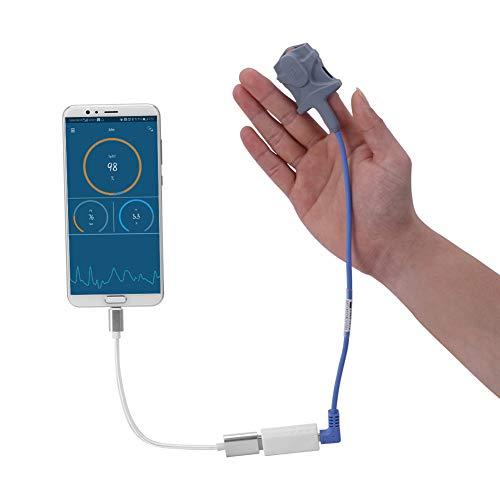 XKRSBS Sensor USB Finger Pulsoximeter für Android-Handys mit OTG-Funktion Erwachsenes Kind SpO2 PR Oximetro Schlaf Pulsmesser,Type C OTG Wire