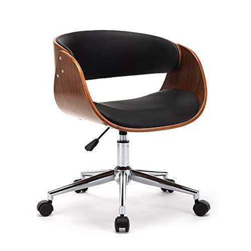 Mingone Bürostuhl Ergonomischer Drehstuhl Massivholz Kunst europäischen Stuhl Büro Schreibtisch Stühle Freizeit Zurück Drehstuhl Kopfstütze und Armlehne Drehstuhl, Bis 150kg (Schwarz)