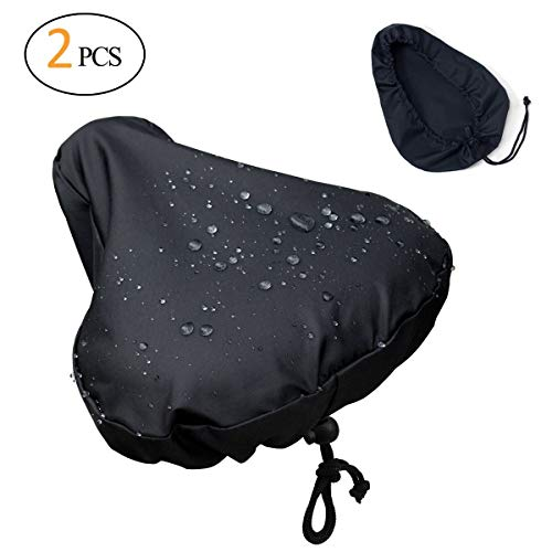 [2 Packs] Updated Water Protection Bike Seat Rain Cover with Drawstring, Rain and Dust Resistant