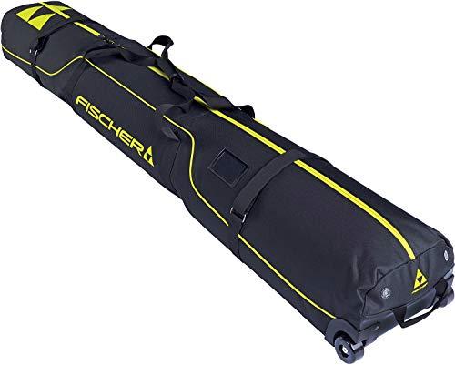 Fischer Skicase Alpine 2 Pair Race Wheels Ski Bag Sz 195cm Black/Yellow