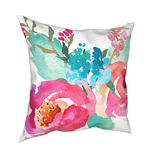 Funda de cojín para decoración diaria con diseño de peonías de acuarela rosa turquesa para regalo en casa, sofá, cama, coche, 45,72 x 45,72 cm