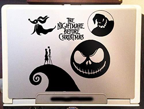 Nightmare Before Xmas Jack and Sally Car Truck Laptop Window Wall Vinyl Decal Sticker (Black, 10')
