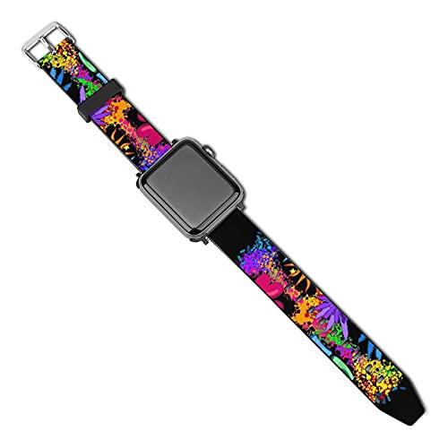 Pacific Symbol Hippie Leaves Cannabis Heart Compatible Apple Watch Band 40 mm 38 mm PU Correa de reloj compatible con cuero Compatible con Apple Watch Series 5 4 3 2 1