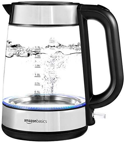 Amazon Basics Electric Glass and Steel Hot Water Kettle - 1.7-Liter