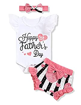 Happy 1ST Father's Day Outfit Baby Girl Ruffle Sleeve Romper Shorts with Headband Clothes 9-12 Months White