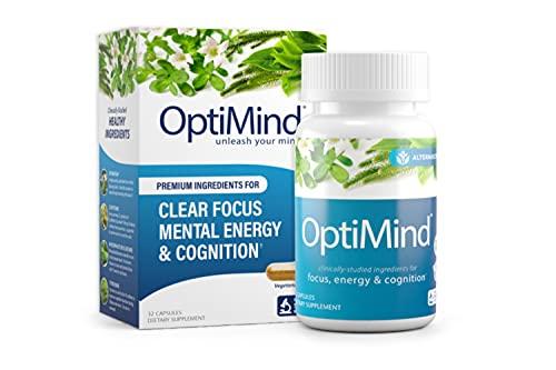 OptiMind Nootropics Premium Brain Booster Supplement | Enhance Your Focus and Energy | Caffeine | L Tyrosine | Taurine | Vitamins D & B 12 | As Seen on Netflix - 1 Bottle, 32 Count
