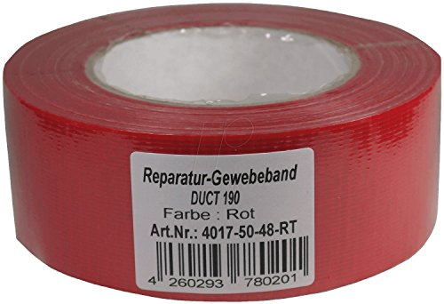 PA-WORLD Premium Tape 50mm x 50m rot Ultra Strong Profi Reparatur-Gewebeband Gaffa Gaffer Tape Duct Tape Klebeband Panzertape Panzerband Gewebeklebeband Steinband