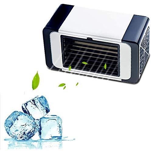 Mini Ventilador De Aire Acondicionado,Portátil Pequeño Refrigerador Evaporativo Con 3 Velocidades,Tranquilo Espacio Personal Mesa Enfriador De Aire Para Dormitorio Blanco 18.5x10x8.8cm(7x4x3inch)