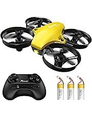 Potensic Mini Drone para Niños y Principiantes, RC Helicopter Quadcopter con Control Remoto, Modo sin Cabeza, Mantenga la Altura, 3 Modos de Velocidad, 3 Baterías, A20 Amarillo