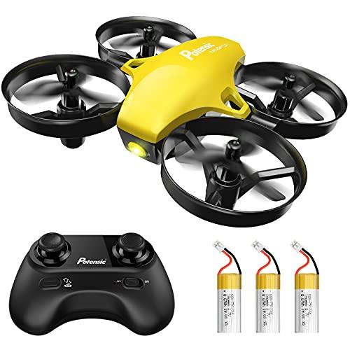 Potensic Mini Drohne für Kinder und Anfänger mit 3 Akkus, RC Quadrocopter, Minidrohne Ferngesteuert mit Höhehalten, Start/Landung mit einem Knopf, Kopflos Modus, Spielzeug Kinderdrohne Klein A20 Gelb