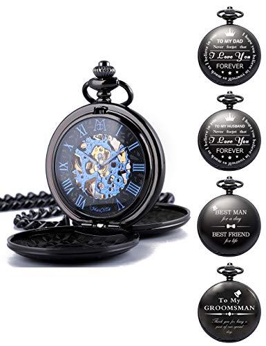 ManChDa Reloj de bolsillo grabado personalizado mecánico Fobwatch regalo para papá, marido, hijo, día del padre, graduación, regalo de cumpleaños, mejor hombre, padrino, reloj de bolsillo para
