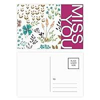 カラフルな花の植物塗料 ポストカードセットサンクスカード郵送側20個ミス