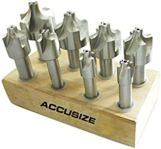 Accusize Industrial Tools H.S.S. Corner Rounding End Mill Set Size from 1/16'' to 3/8'', 8 Pcs, 1011-0008