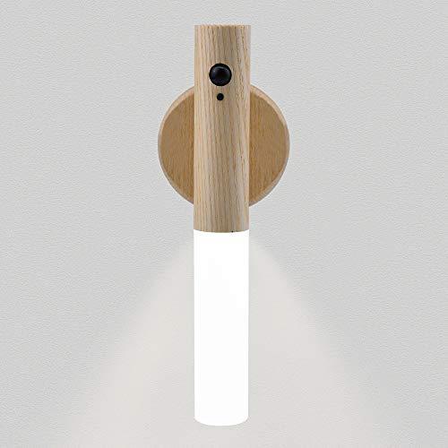 LED Sensor Licht , LED Nachtlicht mit Bewegungsmelder 4 Led Schrankbeleuchtung, Bewegliche intelligente Wandleuchte, USB-Aufladung Geeignet für Wohnzimmer, Küche, auch als Geschenk (Eschenholz)