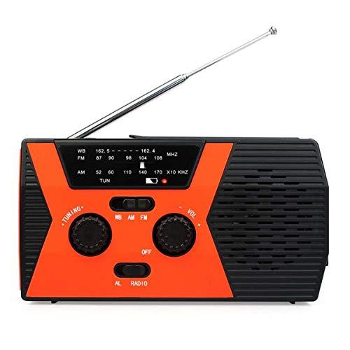 Lsmaa Radio de Emergencia, al Aire Libre Portable de la Alarma Solar manivela de alimentación Am FMO Linterna 2000mAh móvil de la energía y luz de Lectura, Conveniente for el Uso Diario