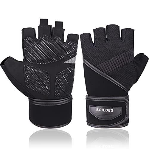 Boildeg Fitness Handschuhe, Trainingshandschuhe mit Handgelenkstütze und Palm Protection Atmungsaktive Gewichtheben Handschuhe Sporthandschuhe für Herren Damen Kraftsport & Crossfit Training