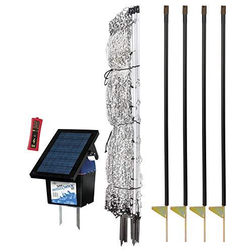 Premier 48' PermaNet Plus Starter Kit - Includes PermaNet Plus Net Fence - 100' L & Double Spiked, Solar IntelliShock 60 Fence Energizer, FiberTuff Support Posts & Fence Tester (White)