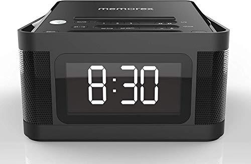 Memorex MC8431 2 USB Charging Alarm Clock Radio with 1.2 Inch LCD Display, FM Radio and More, Black