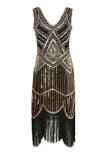 Zhisheng You 1920s Gastby V-Neck Sequined Embellished Fringed Vintage Hem Flapper Dress (S, Black+Gold)