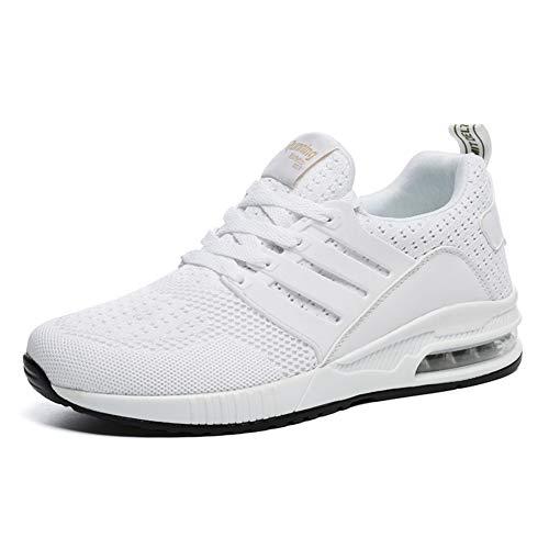 JUXINCHI Herren Damen Sneakers Bequeme Atmungsaktiv Laufschuhe Schnürer Air Profilsohle Sportschuhe Luftpolster Turnschuhe Fitness Leichte,Weiß,41 EU (Etikette 42)
