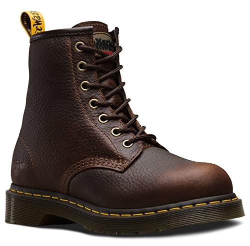 Dr. Martens, Women's Maple Zip Steel Toe Light Industry Boots, Teak, 8 M US