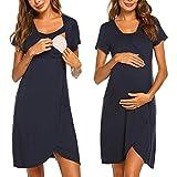 GUTSBOX Umstandskleid Stillnachthemd Damen, Damen Geburtskleid Krankenhaus Umstands Nachthemd Stillfunktion Umstandsnachthemd Baumwolle Nachthemden für Schwangere und Stillzeit S-XXL
