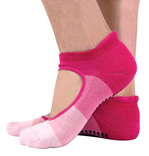 2er Pack Damen Baumwolle Bunt Antirutsch Yoga Socken mit Fersenpolster (37/42, Pink)