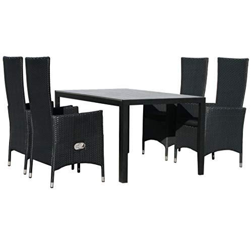 KMH®, Gartensitzgruppe: 1 schwarzer Tisch 150 cm und 4 Schwarze Gartensessel (#106204)