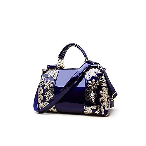 Women Handbag Top Handle Bag, Patent Leather Embroidery Fashion Tote Purse...
