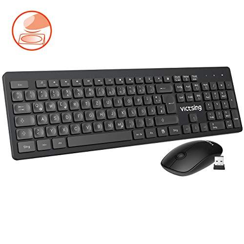 VicTsing Tastatur und Maus Kabellos, Funktastatur Maus Set, Schnurlose Tastatur Maus Set mit Spezielle Konkave Tastenkappen, Funkmaus mit Tastatur 12 Multimedia Shortcuts für PC Laptop Windows Mac