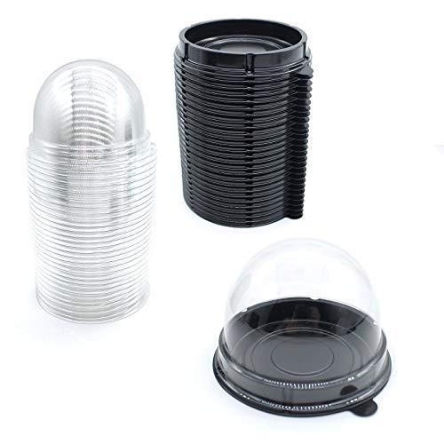Clear Plastic Mini Cupcake Container,50 PC Mooncake Boxes Muffin Pod Dome Muffin Single Cupcake Holders Individual Cupcake Containers Plastic Disposable (Black, 50pc)