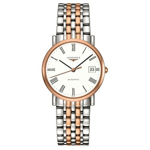 Longines Elegant Collection Automatic Steel & 18k Rose Gold Plated Mens Watch L4.809.5.11.7