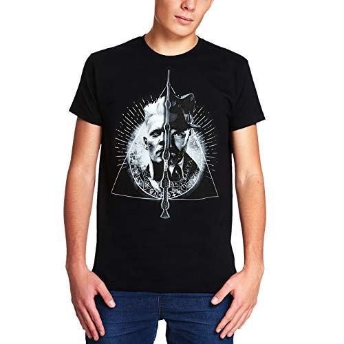Elbenwald Phantastische Tierwesen T-Shirt Grindelwald vs. Dumbledore Frontprint monochrom schwarz - XXL
