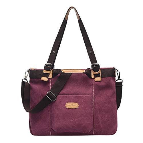 FOANA Damen sportliche Handtasche Umhängetasche Schultertasche aus Canvas Damen Umhängetasche Reisetasche Handtasche (Lila, 1)