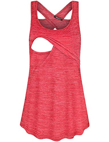Quinee Breastfeeding Tank Top for Women, Latched Mama Cute Sleeveless Aline Nursing Shirts Pregnancy Cami Tunics for Skinny Pants Maternity Summer Lovely Feeding Clothes Red S